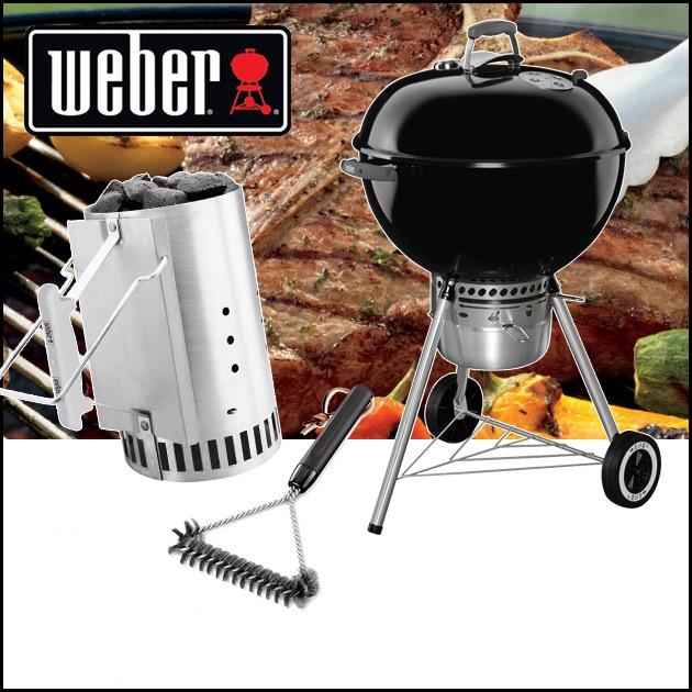 期間限定セット販売 Weber ウェーバー オリジナルケトル 57cmプレミアムタイプ +ラピッドファイヤースターター+サイドグリル ブラッシュ 12の3点セット! 日本正規品