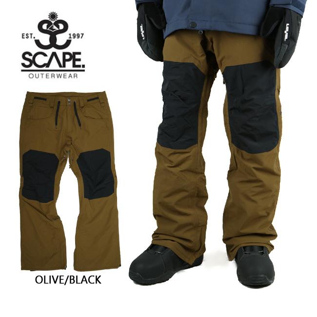 【カード決済限定P最大9倍 9/4 20時~】2018 エスケープ SCAPE パンツ RAID OLIVE/BLACK 【スノーウェア】スノーボードウェア 耐水圧・透湿性・撥水加工