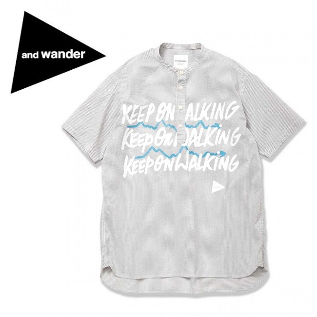 アンドワンダー and wander typography printed pullover shirt AW91-FT057 【アウトドア/シャツ/デザイン/おしゃれ】