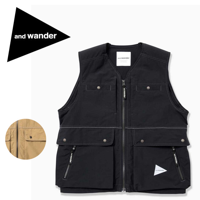 and wander アンドワンダー laser hole nylon taffeta vest AW91-FT070 【アウトドア/ジャケット/ベスト】