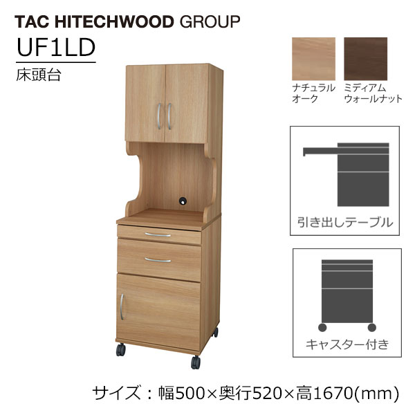 床頭台 病院 介護 福祉施設 木製 スライドテーブル キャスター UF1LD 送料無料