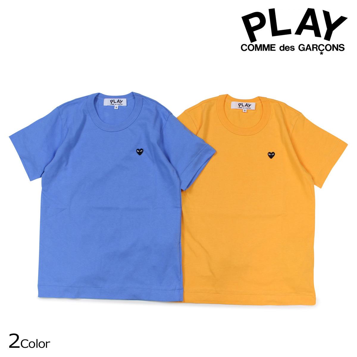 コムデギャルソン PLAY Tシャツ 半袖 COMME des GARCONS レディース BLACK HEART T-SHIRT AZ-T213 ブルー イエロー