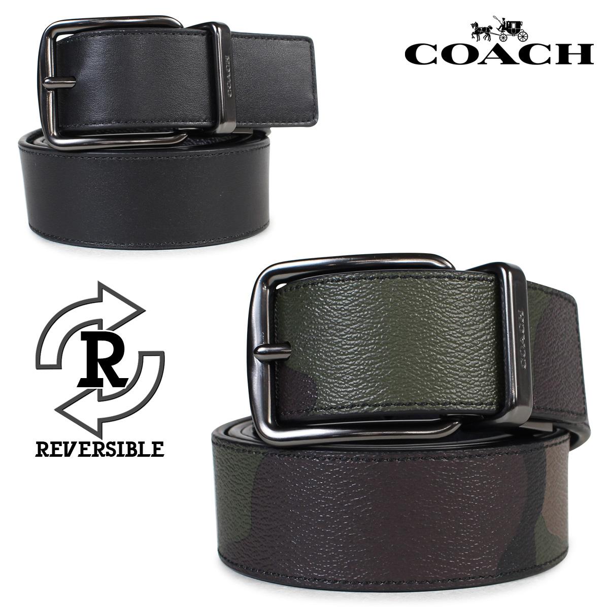 コーチ COACH ベルト レザーベルト メンズ リバーシブル 本革 迷彩 ブラック カモ 黒 F56160