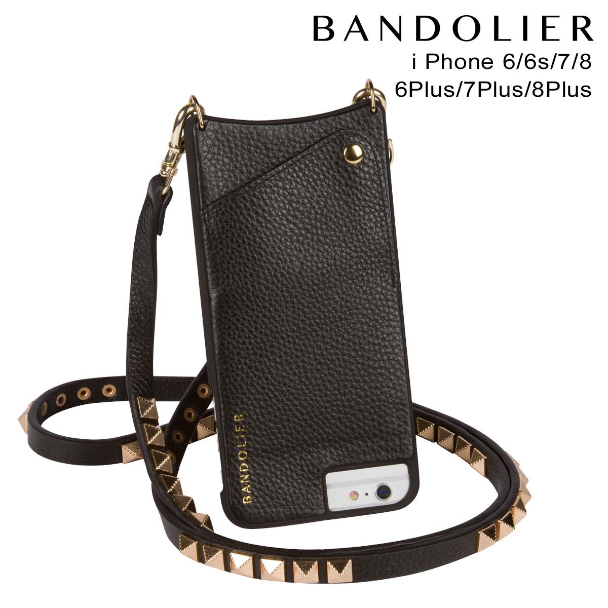 BANDOLIER バンドリヤー iPhone8 iPhone7 7Plus 6s ケース スマホ アイフォン プラス JENNY GOLD レザー メンズ レディース ブラック