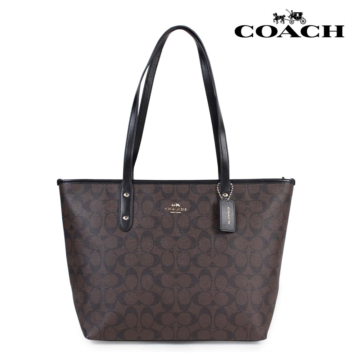 Coach City Zip Tote Black Brown Coated Canvas Signature Leather F58292 IMAA8 NEW