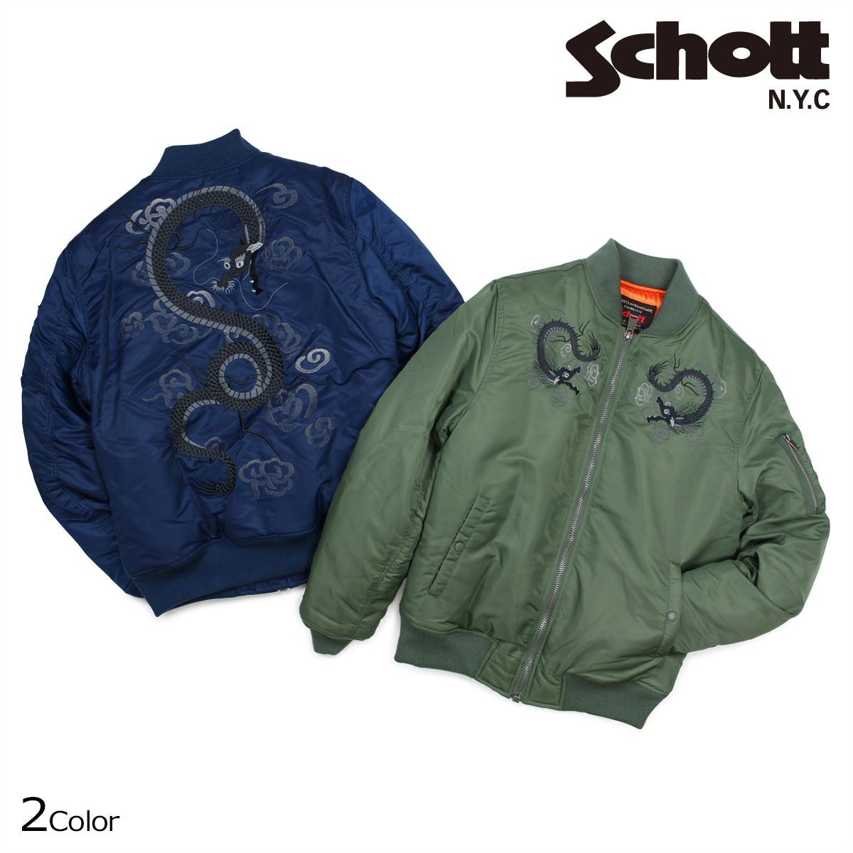 ショット Schott ジャケット MA-1 ナイロンジャケット メンズ NYLON JACKET ネイビー オリーブ 9730