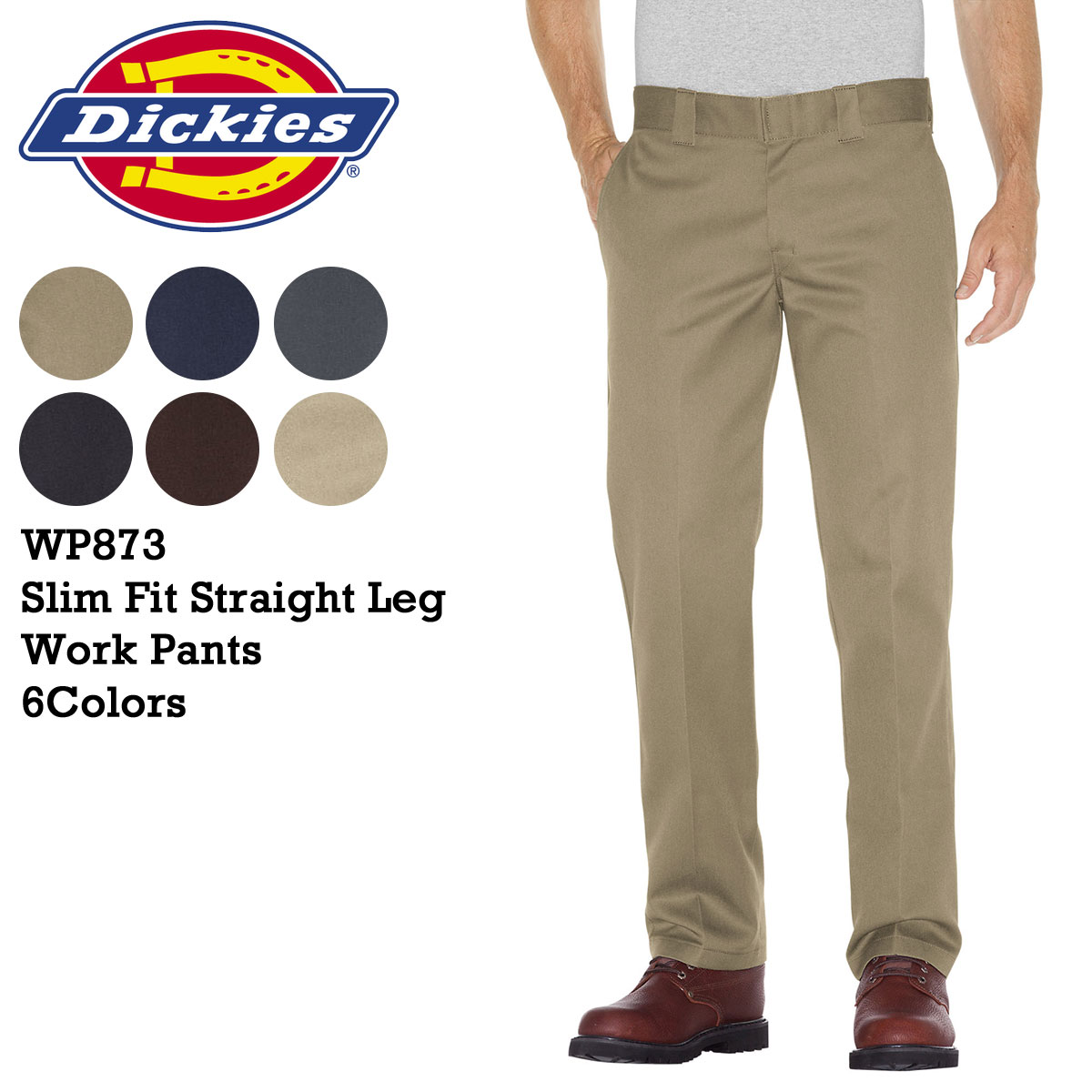 80efca480398 WP873 SLIM STRAIGHT FIT WORK PANTS cotton men s Dickies DICKIES work pants