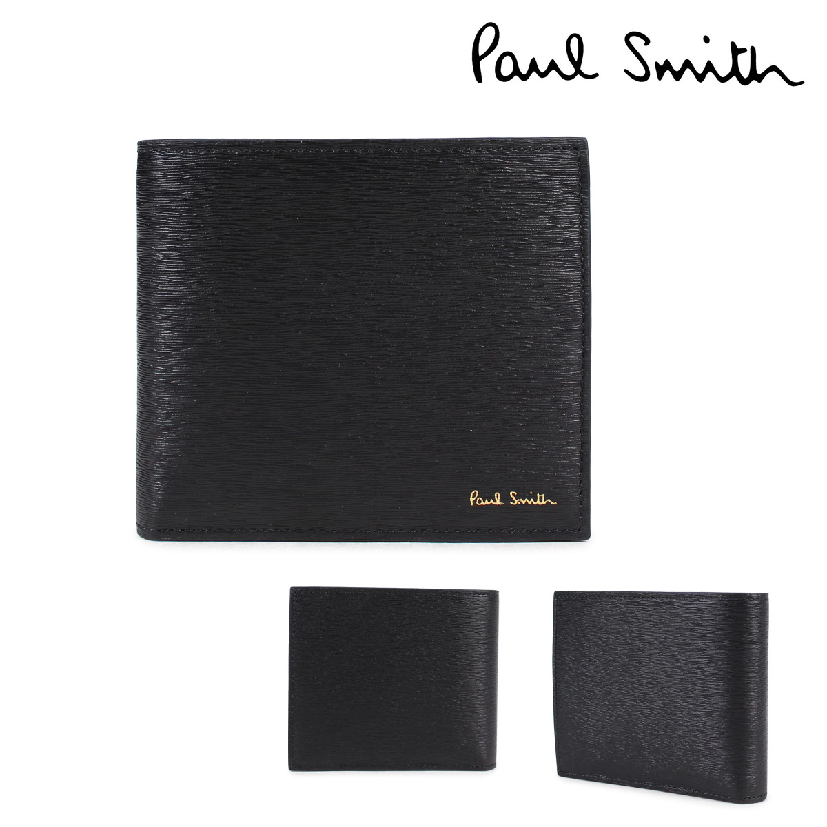 【超歓迎された】 ポールスミス 財布 メンズ 二つ折り Paul Smith SMART WALLET SMART WALLET Smith レザー ブラック 4833 W905 79, エニースタイル:265d1ff8 --- canoncity.azurewebsites.net