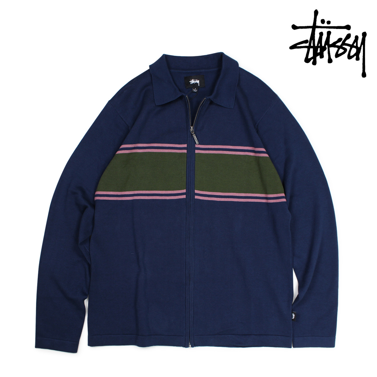 ステューシー STUSSY セーター メンズ ニット CODY STRIPE LS POLO SWEATER ネイビー 117050 【決算セール 返品不可】