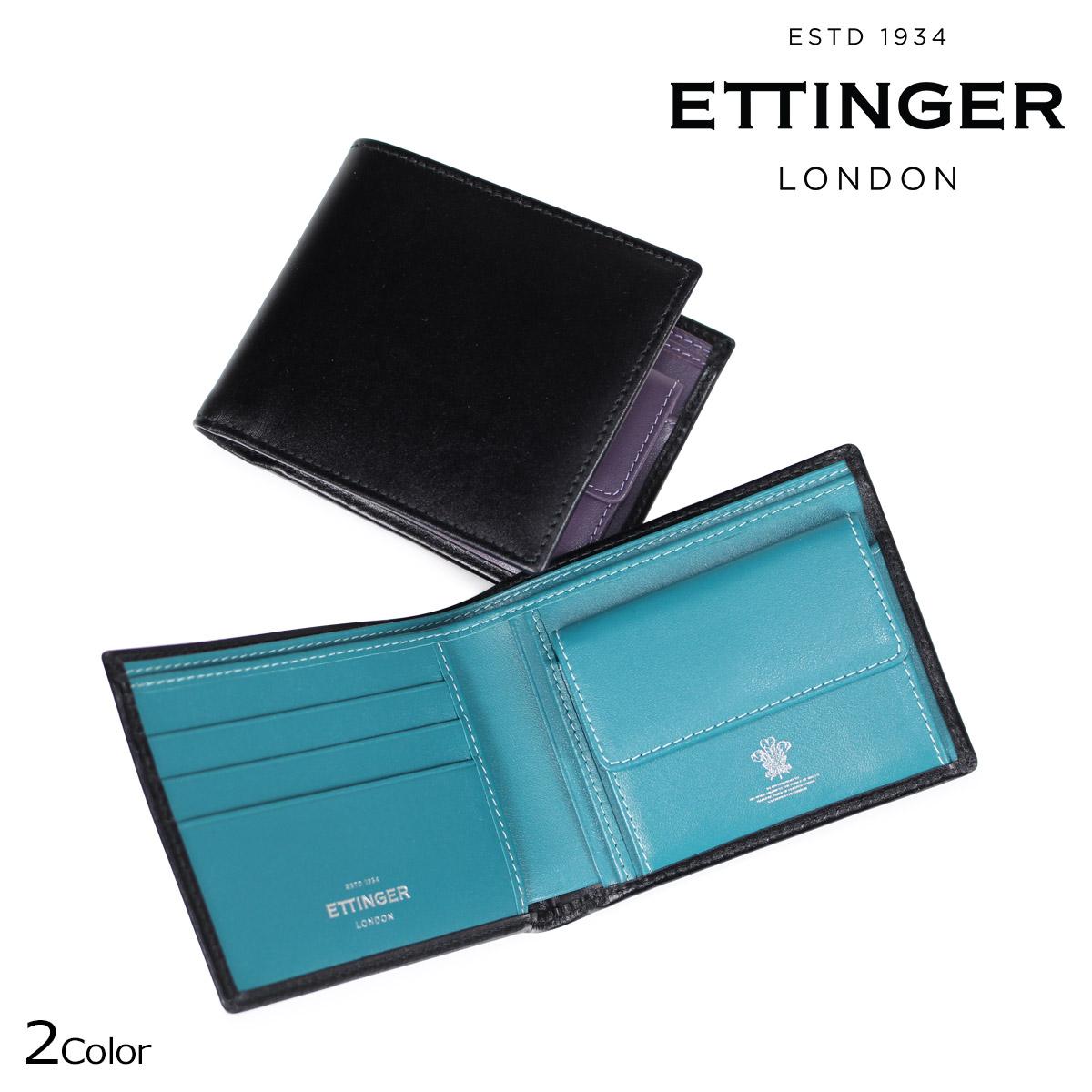 エッティンガー ETTINGER 財布 二つ折り メンズ STERLING BILLFOLD WITH 3 C/C & PURSE ブラック ST141JR [9/7 再入荷]