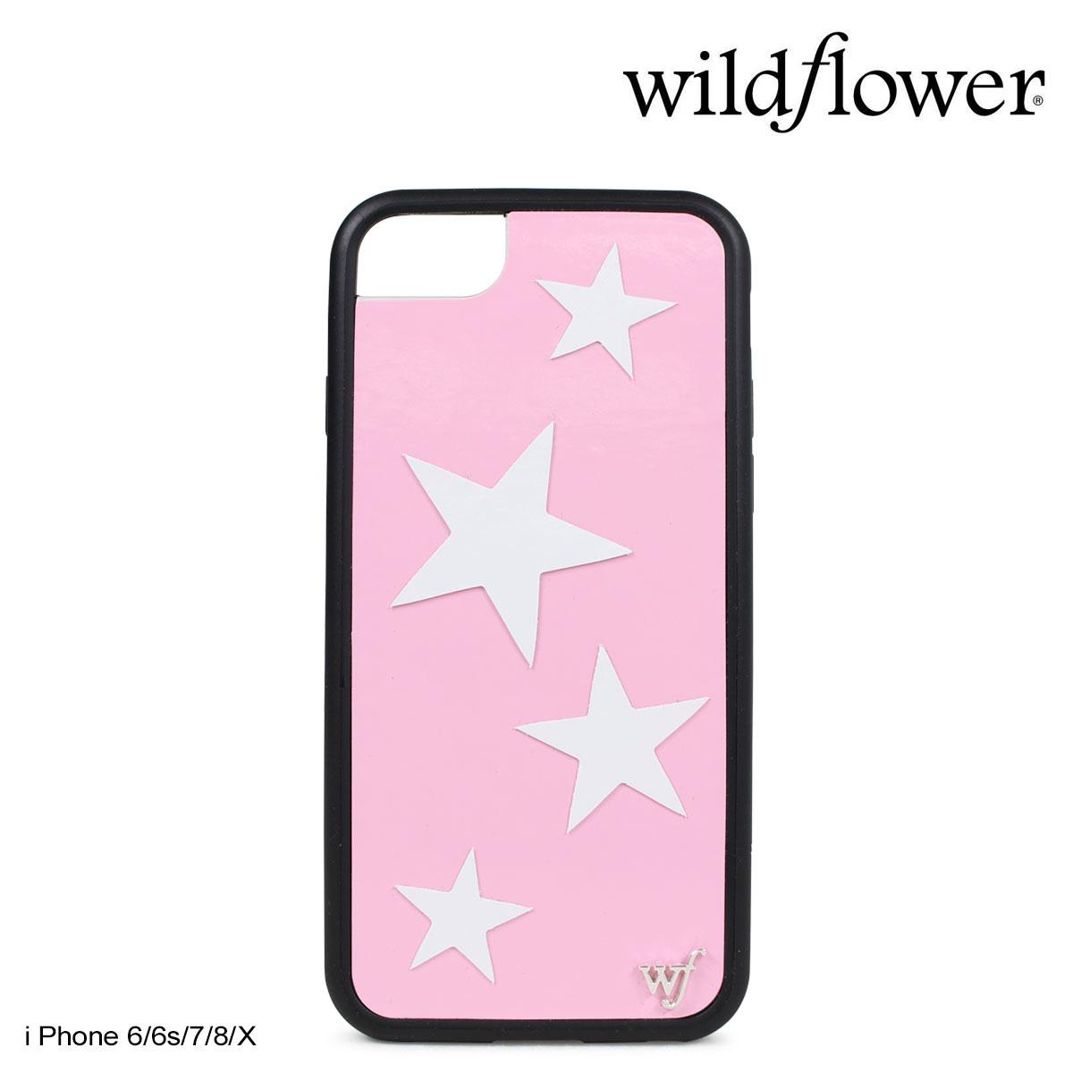 wildflower ワイルドフラワー iPhone 8 X 7 6 6s ケース スマホ 携帯 アイフォン レディース スター ピンク PVIN 【ネコポス可】