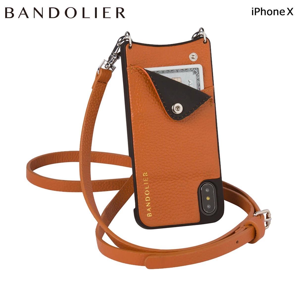BANDOLIER バンドリヤー iPhoneX ケース スマホ アイフォン EMMA COGNAC レザー メンズ レディース [6/1 新入荷] 【決算セール 返品不可】