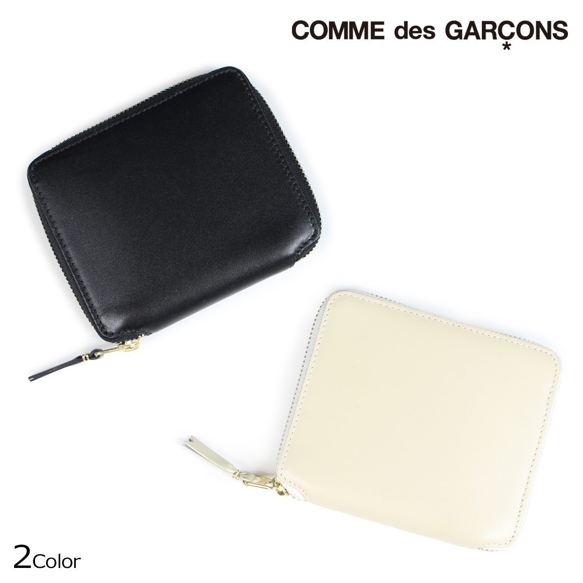 コムデギャルソン COMME des GARCONS 財布 二つ折り メンズ レディース ラウンドファスナー ブラック オフ ホワイト 黒 白 SA2100 [9/9 追加入荷]