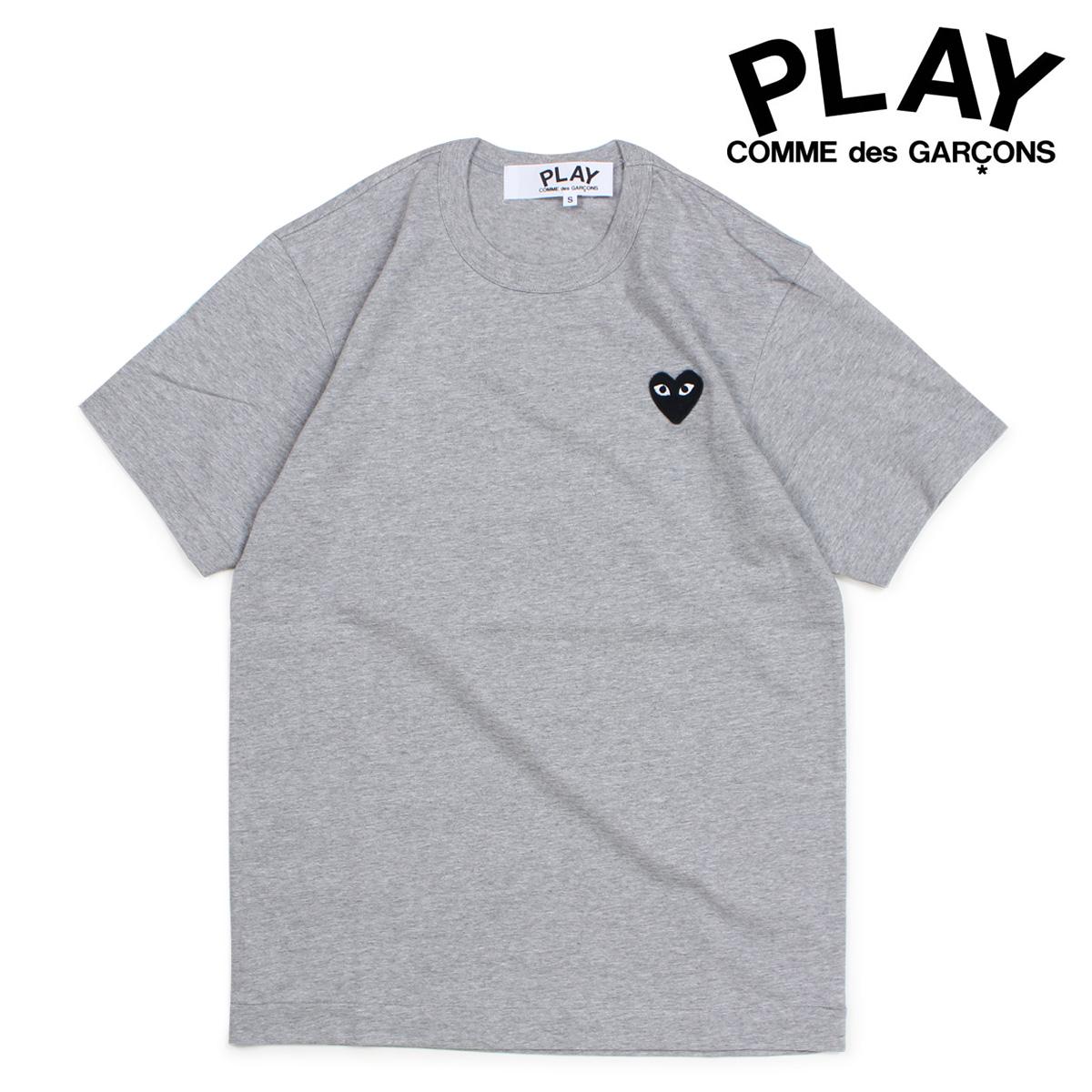 コムデギャルソン PLAY Tシャツ 半袖 COMME des GARCONS メンズ BLACK HEART T-SHIRT グレー AZT076 [10/3 新入荷]