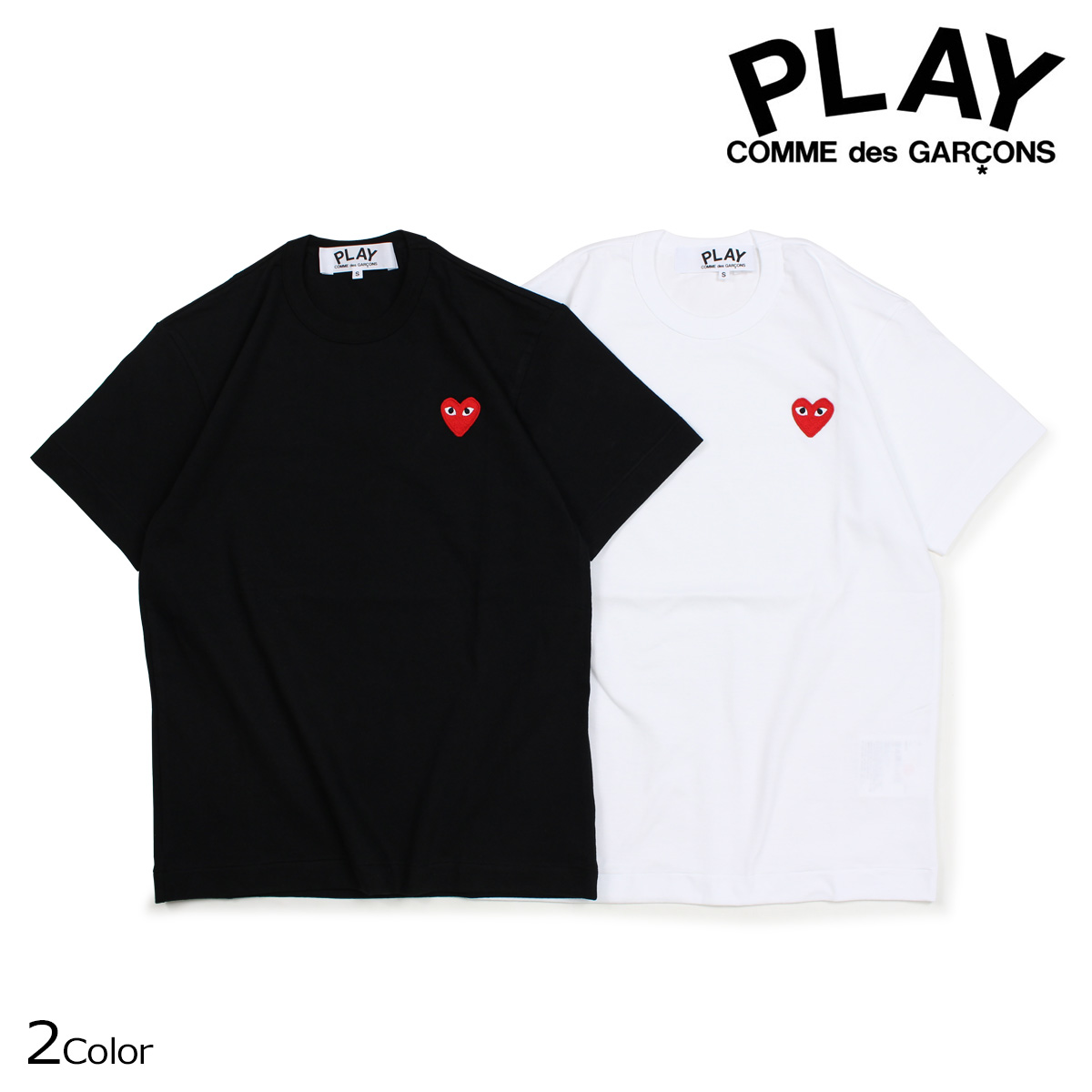 0539098389ef0 コムデギャルソン PLAY T-shirt short sleeves COMME des GARCONS men RED HEART T-SHIRT  black white AZT108