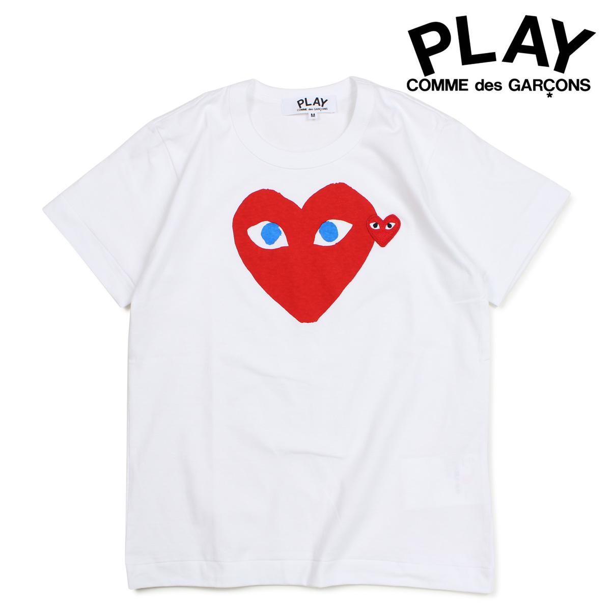 コムデギャルソン PLAY Tシャツ 半袖 COMME des GARCONS レディース RED HEART T-SHIRT ホワイト AZT085 [10/3 新入荷]