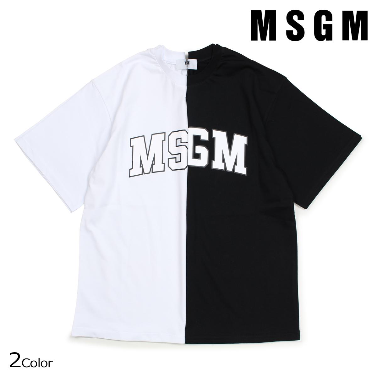 【最大2000円OFFクーポン】 MSGM エムエスジーエム Tシャツ レディース 半袖 COLLEGE LOGO T-SHIRTS ブラック ホワイト 2541MDM162 184798