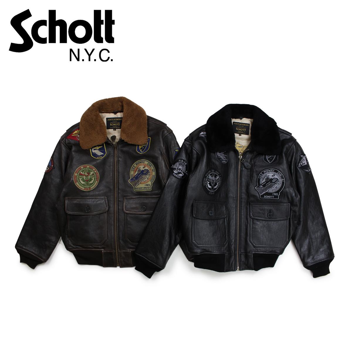 【最大2000円OFFクーポン】 ショット Schott ジャケット ボンバージャケット メンズ MEN G-1 WINGS OF GOLD LEATHER BOMBER JACKET ブラック ブラウン G1TG