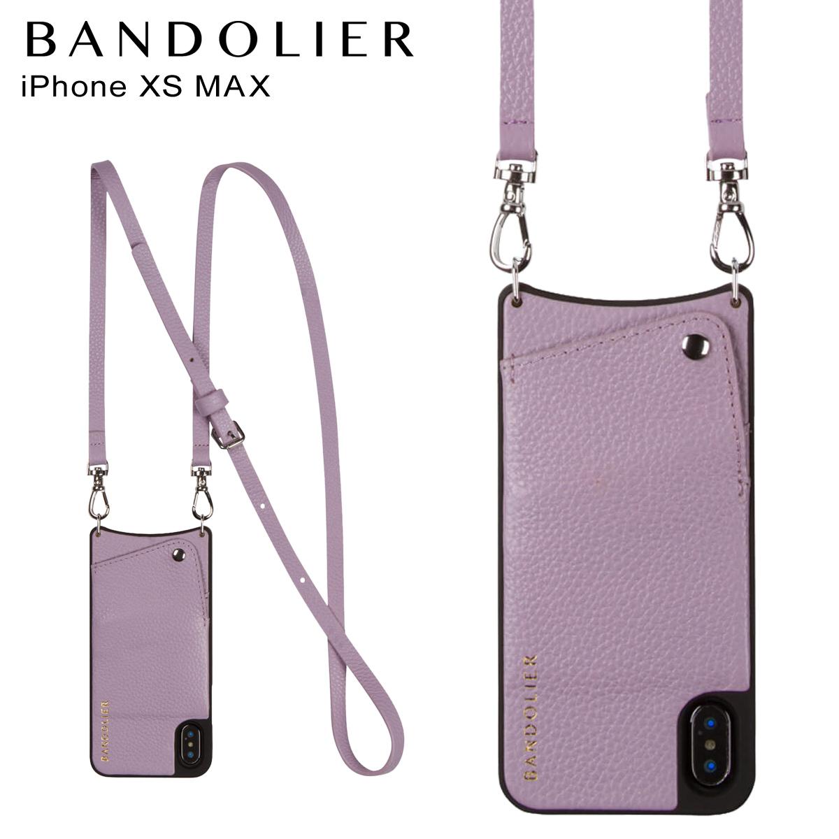 BANDOLIER バンドリヤー iPhone XS MAX ケース ショルダー スマホ アイフォン レザー EMMA LILAC メンズ レディース ライラック 10EMM1001 [4/18 再入荷]
