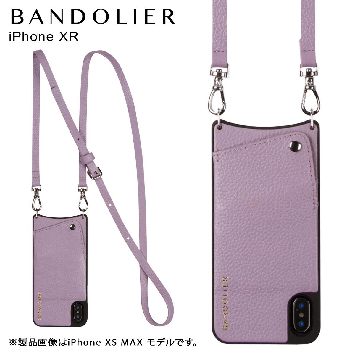 BANDOLIER バンドリヤー iPhone XR ケース ショルダー スマホ アイフォン レザー EMMA LILAC メンズ レディース ライラック 10EMM1001 [4/18 再入荷]