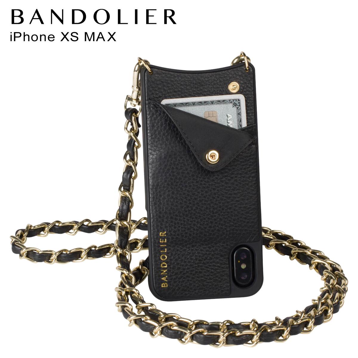 BANDOLIER バンドリヤー iPhone XS MAX ケース ショルダー スマホ アイフォン レザー LUCY GOLD メンズ レディース ブラック 10LCY1001 [3/18 再入荷]