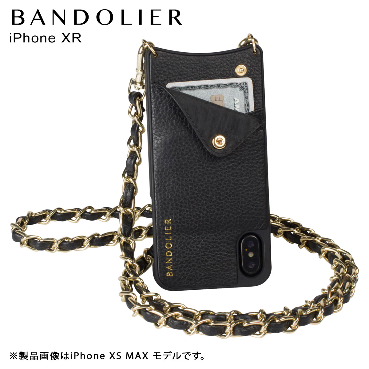 BANDOLIER バンドリヤー iPhone XR ケース スマホ 携帯 ショルダー アイフォン レザー LUCY GOLD メンズ レディース ブラック 10LCY1001