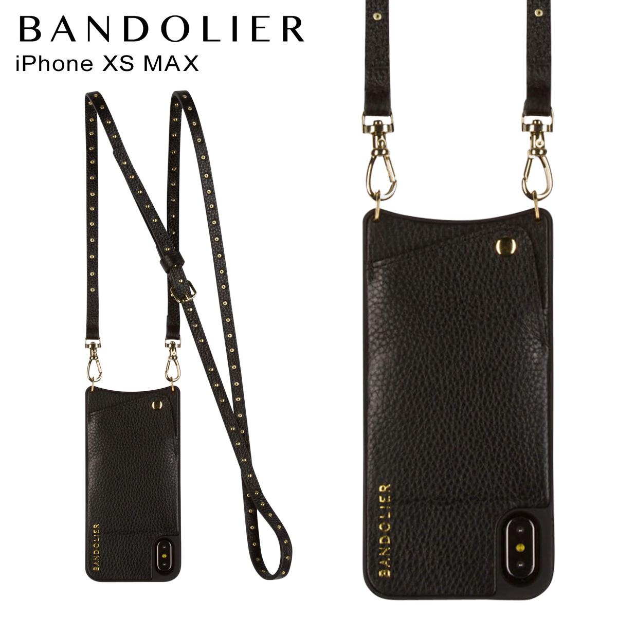 BANDOLIER バンドリヤー iPhone XS MAX ケース ショルダー スマホ アイフォン レザー NICOLE GOLD メンズ レディース ブラック 10NIC1001