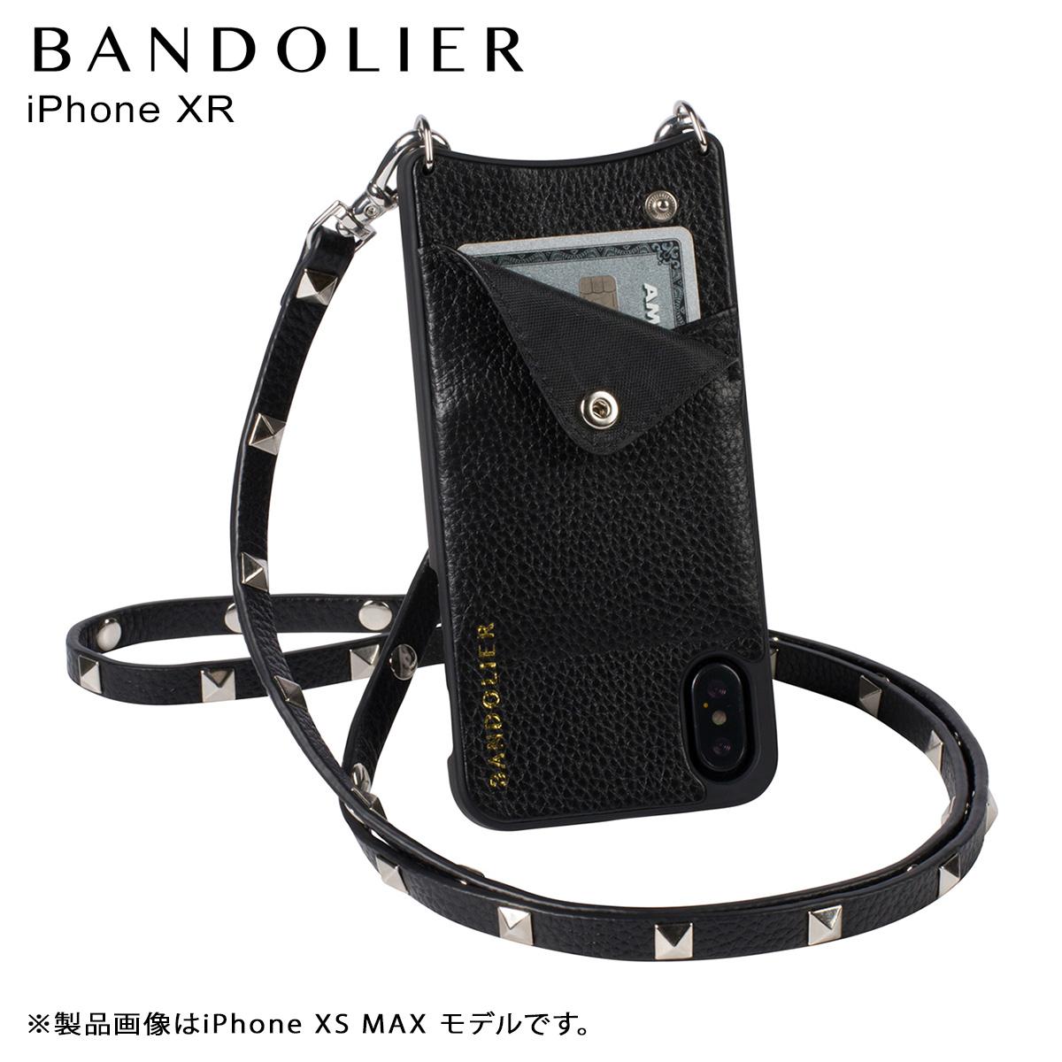 【最大2000円OFFクーポン】 BANDOLIER バンドリヤー iPhone XR ケース ショルダー スマホ アイフォン レザー SARAH SILVER メンズ レディース ブラック 10SAR1001