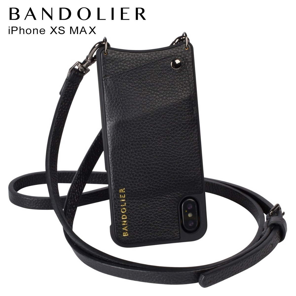BANDOLIER バンドリヤー iPhone XS MAX ケース ショルダー スマホ アイフォン レザー EMMA PEWTER メンズ レディース ブラック 10EMM1001 [4/18 再入荷]