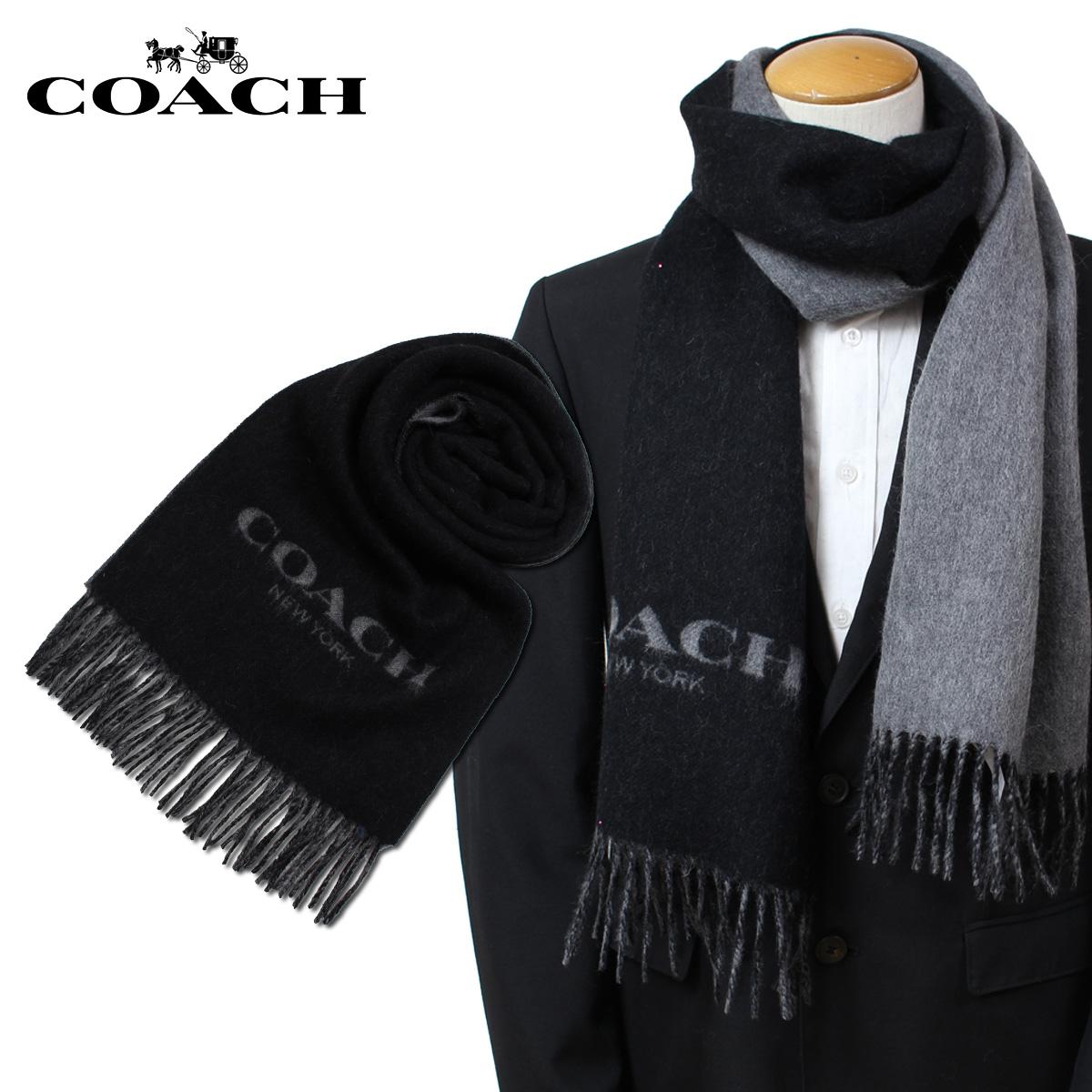 【最大2000円OFFクーポン】 コーチ COACH マフラー レディース メンズ ウール カシミア ブラック F86542