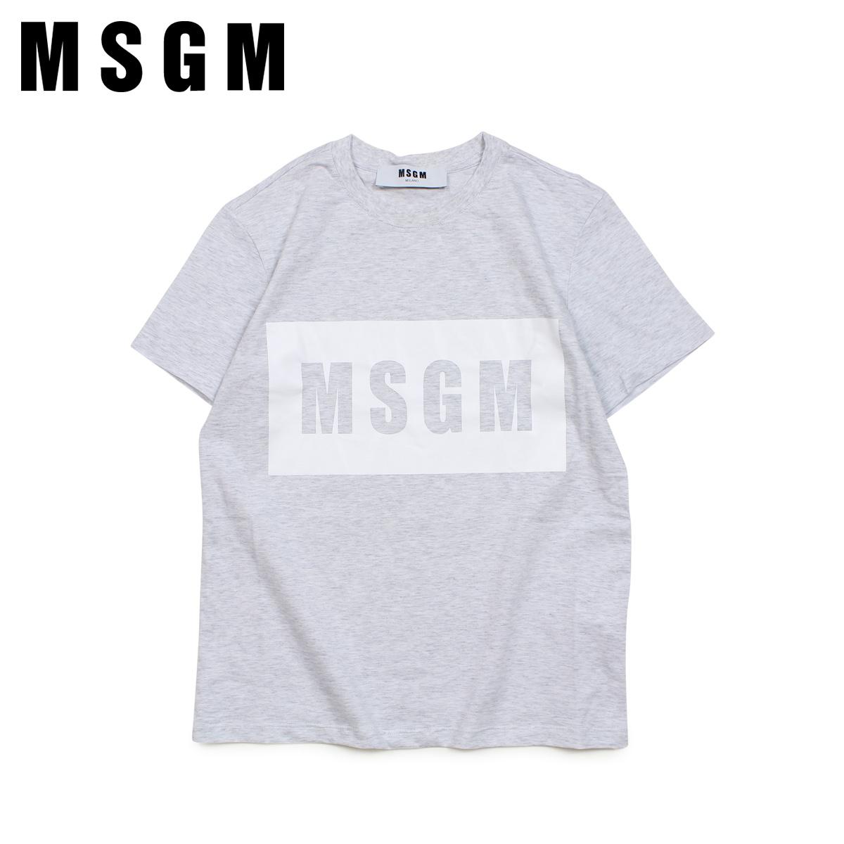 【最大2000円OFFクーポン】 MSGM エムエスジーエム Tシャツ 半袖 レディース BOX LOGO T-SHIRTS グレー MDM95 94
