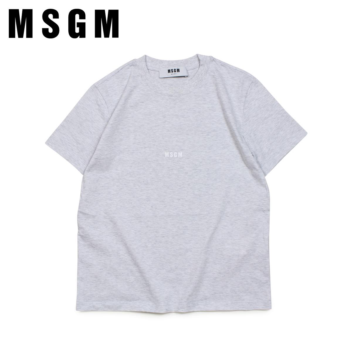 【最大2000円OFFクーポン】 MSGM エムエスジーエム Tシャツ 半袖 レディース MICRO LOGO T-SHIRT グレー MDM100 94
