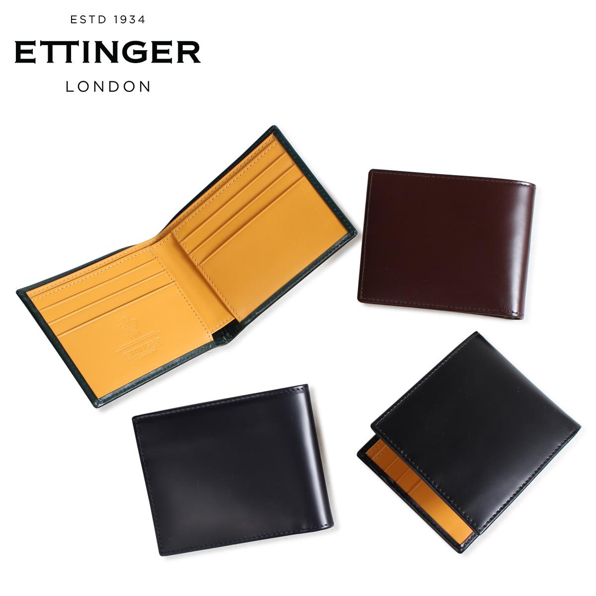 エッティンガー ETTINGER 財布 二つ折り メンズ レザー BILLFOLD WALLET WITH CARD CASE ブラック ネイビー ブラウン グリーン 黒 BH030 [3/18 新入荷]