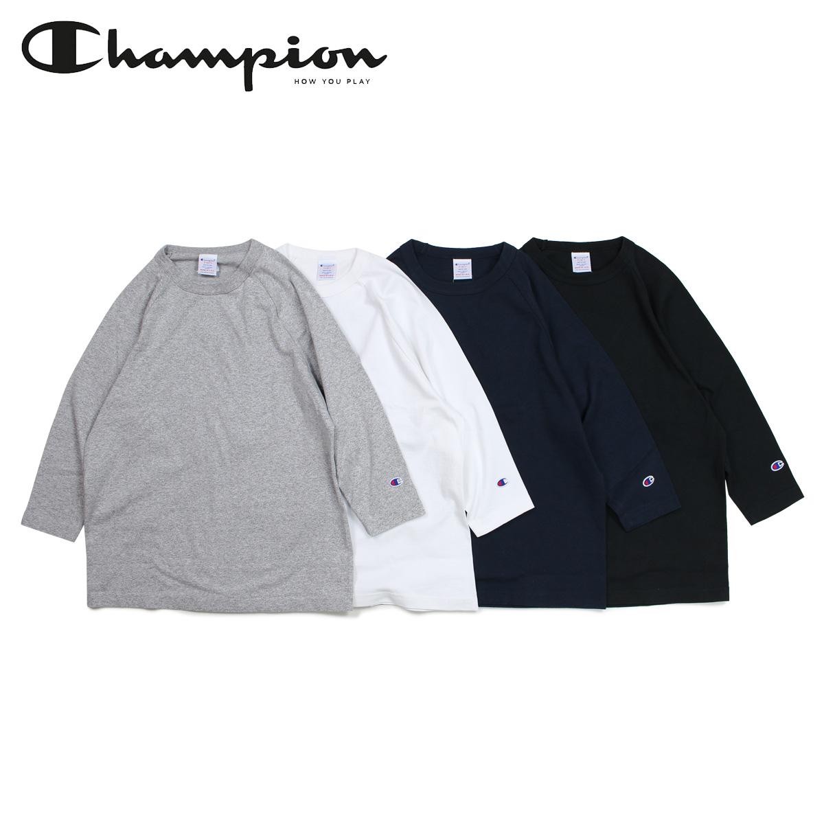 チャンピオン Champion Tシャツ ラグラン 七分袖 メンズ レディース T1011 RAGLAN 3/4 SLEEVE T-SHIRT ブラック ホワイト グレー ネイビー 黒 白 C5-P404 [予約商品 12/20頃入荷予定 追加入荷]