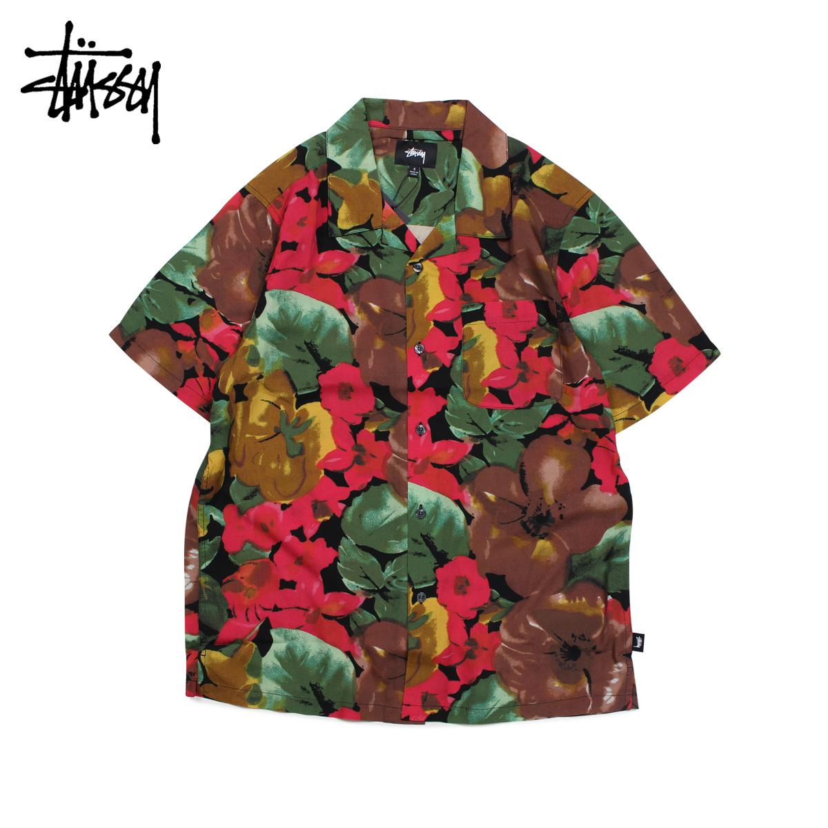 【最大2000円OFFクーポン】 ステューシー STUSSY シャツ メンズ 半袖 WATERCOLOR FLOWER SHIRT ブラック 黒 1110023