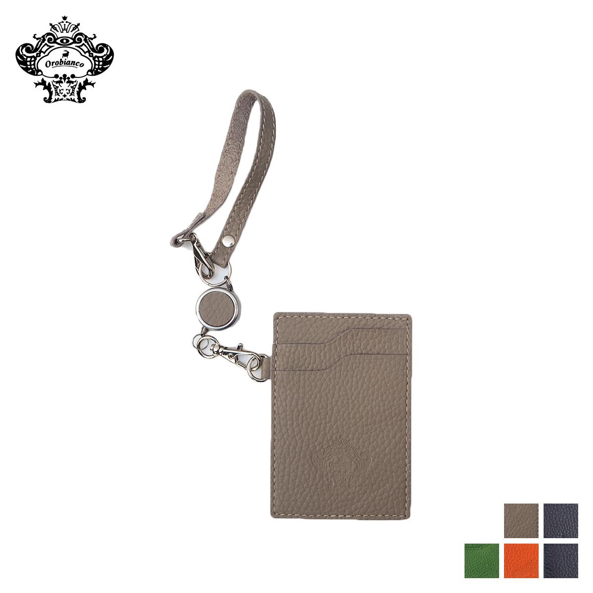 オロビアンコ Orobianco パスケース カードケース ID 定期入れ リールホルダー メンズ レディース REEL HOLDER レザー グレー ネイビー グリーン オレンジ ORHO-002