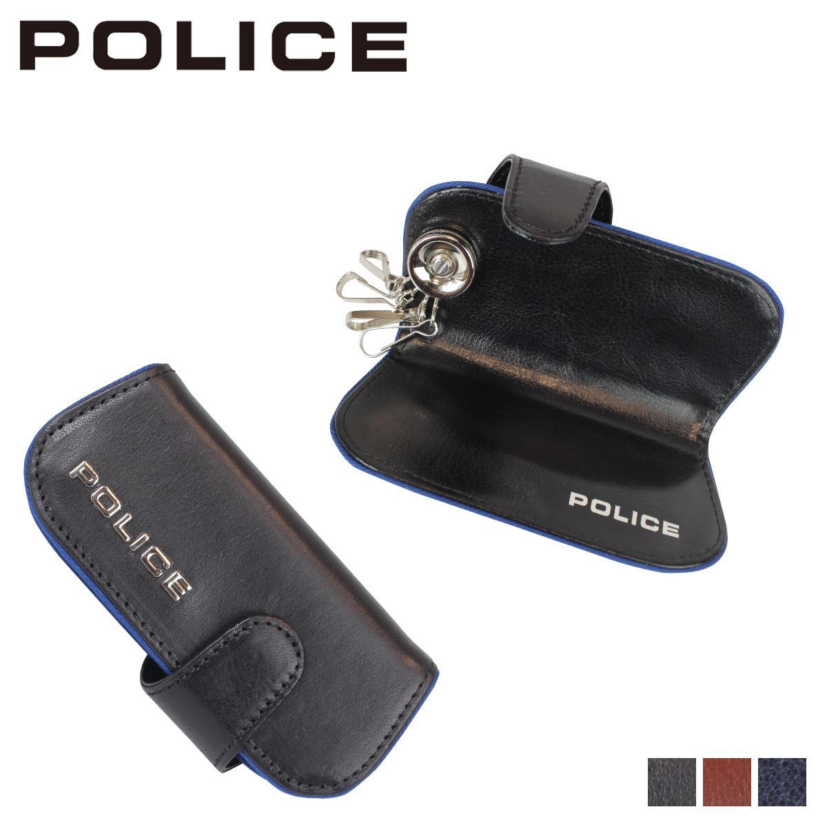 ポリス POLICE キーケース キーホルダー メンズ 4連 レザー TERAIO KEY CASE ブラック ネイビー ダーク ブラウン 黒 PA-58003