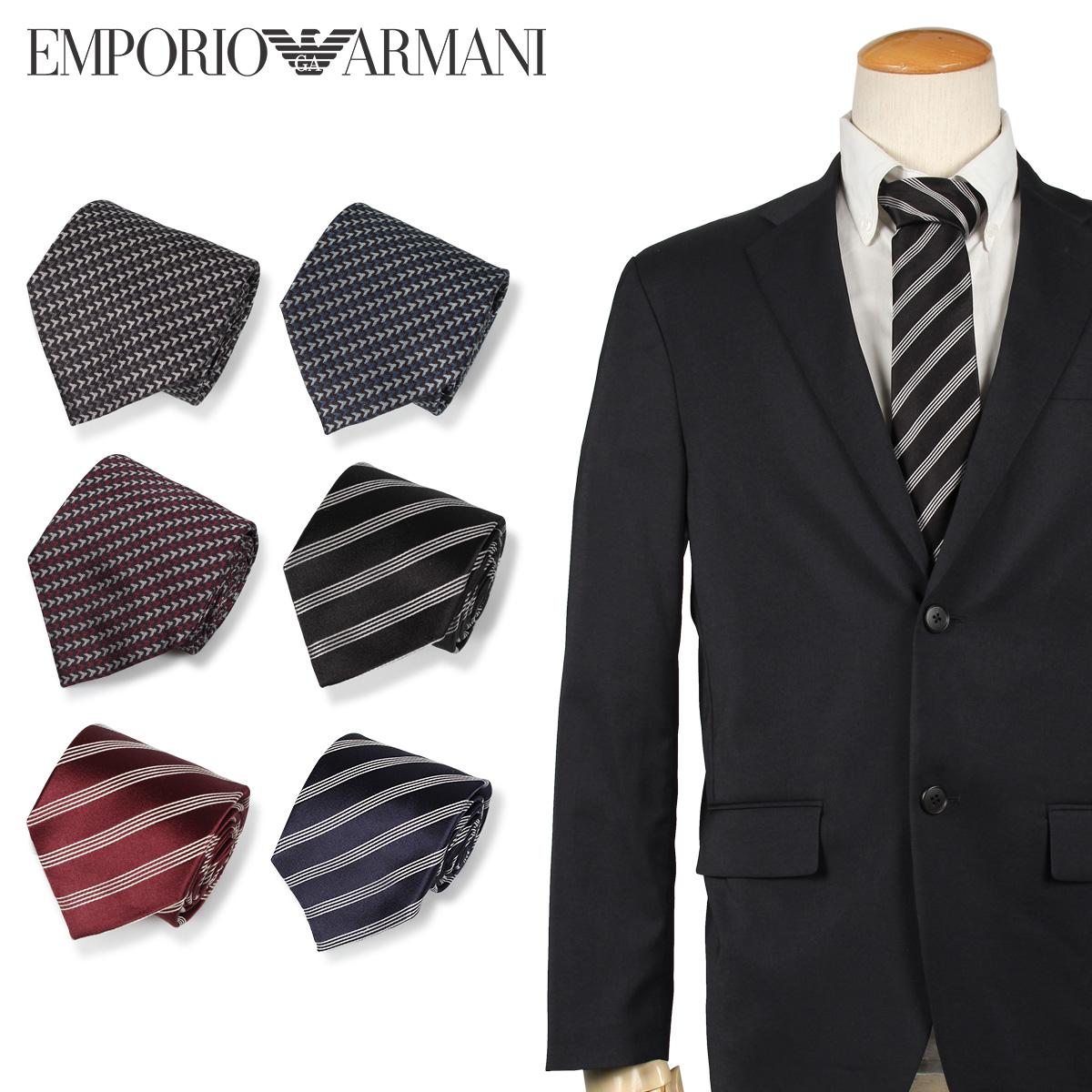 エンポリオ アルマーニ EMPORIO ARMANI ネクタイ メンズ イタリア製 シルク ビジネス 結婚式 ブラック グレー ネイビー ワインレッド レッド ダーク ブルー 黒