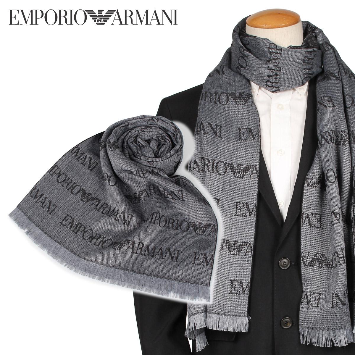 エンポリオ アルマーニ EMPORIO ARMANI マフラー ストール メンズ グレー 625053 CC786 [10/10 新入荷]