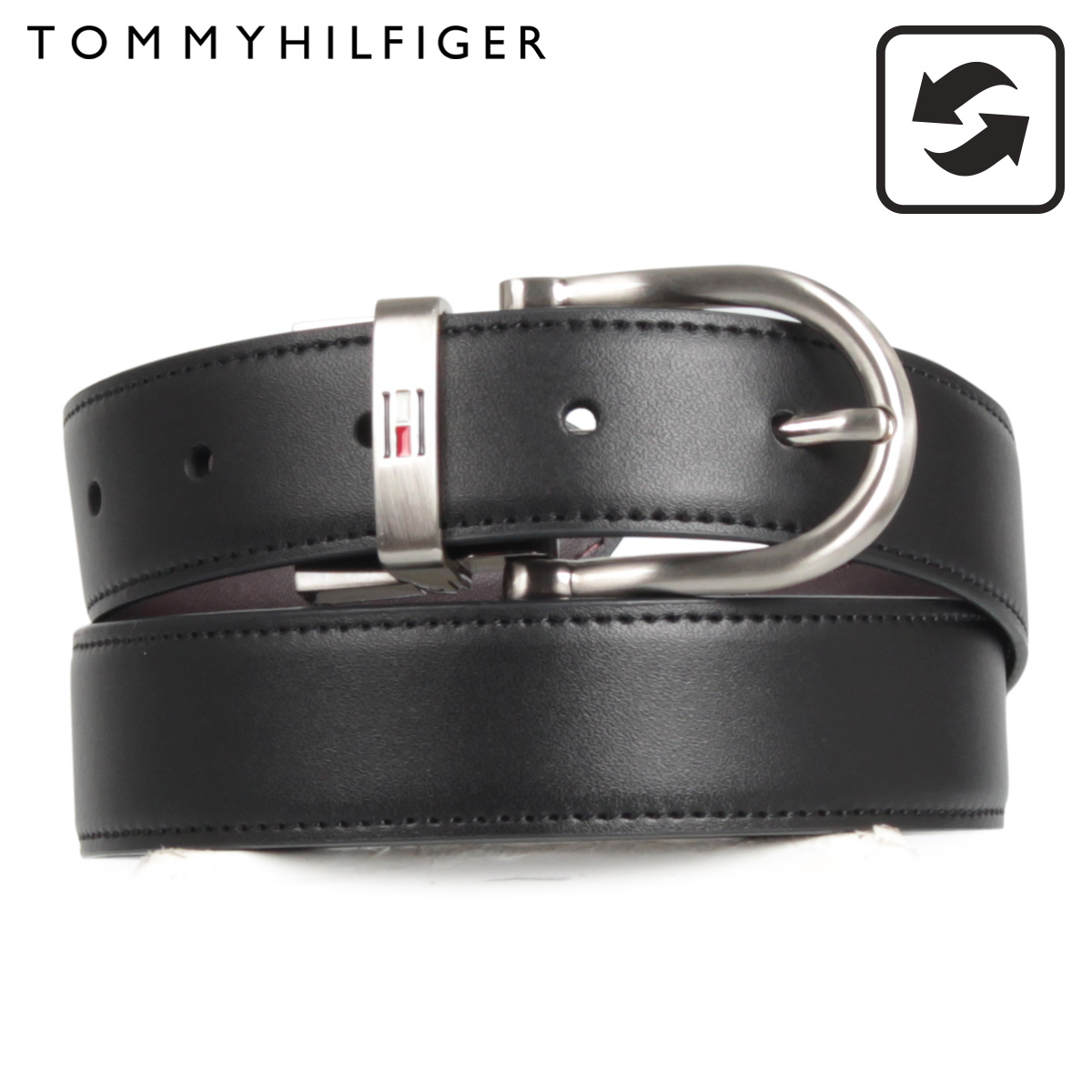 トミーヒルフィガー TOMMY HILFIGER belt leather belt set men reversible REVERIBLE BELT WHIT BOX black brown black 11TL08X012 014 [1129 Shinnyu load]