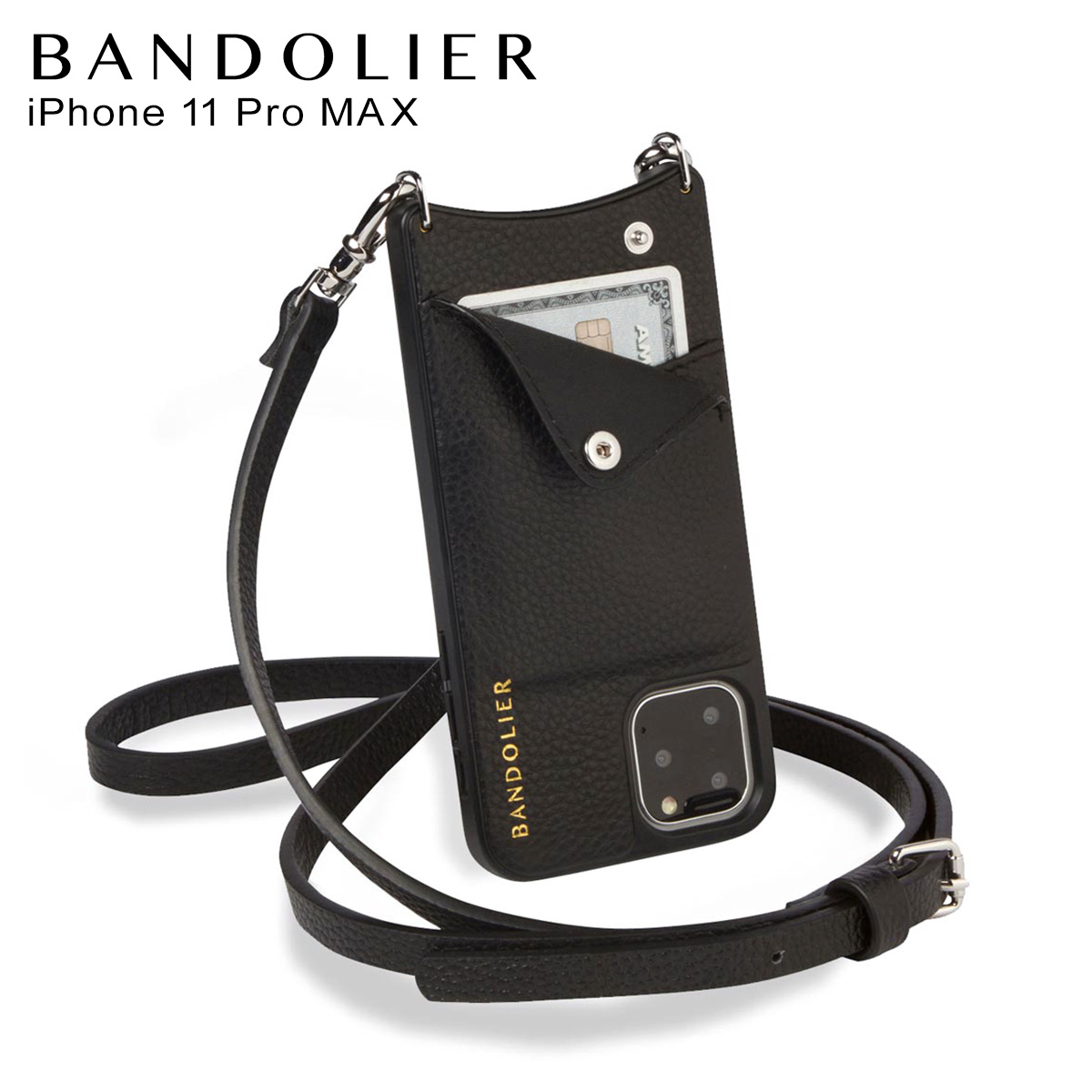 BANDOLIER バンドリヤー エマ シルバー iPhone11 Pro MAX ケース スマホ 携帯 ショルダー アイフォン メンズ レディース EMMA SILVER ブラック 黒 2910