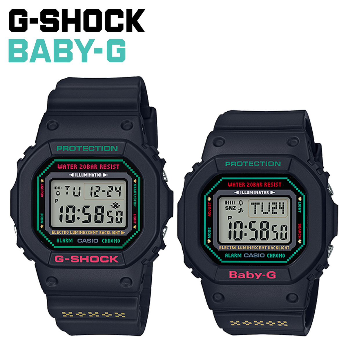 【最大2000円OFFクーポン】 カシオ CASIO G-SHOCK BABY-G 腕時計 LOV-19B-1JR ラバーズコレクション ラバコレ ペアウォッチ ジーショック Gショック ベビージー ベビーG メンズ レディース ブラック 黒