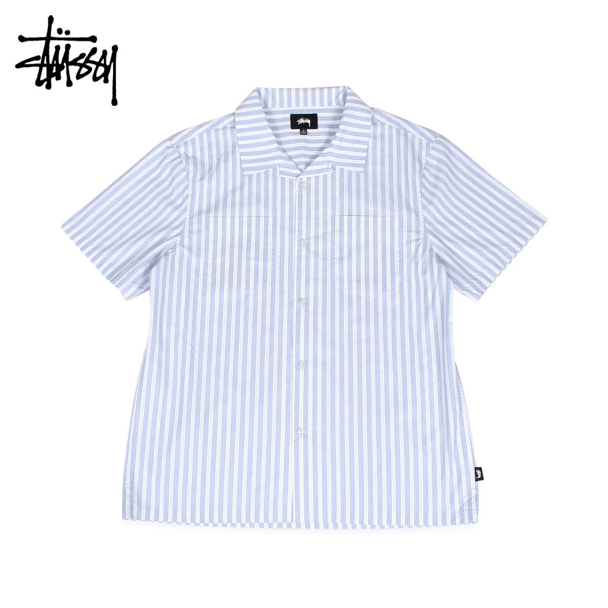ステューシー STUSSY シャツ 半袖 ボタンシャツ メンズ ストライプ OPEN COLLAR SHIRT ブルー 1110042 [12/6 新入荷]