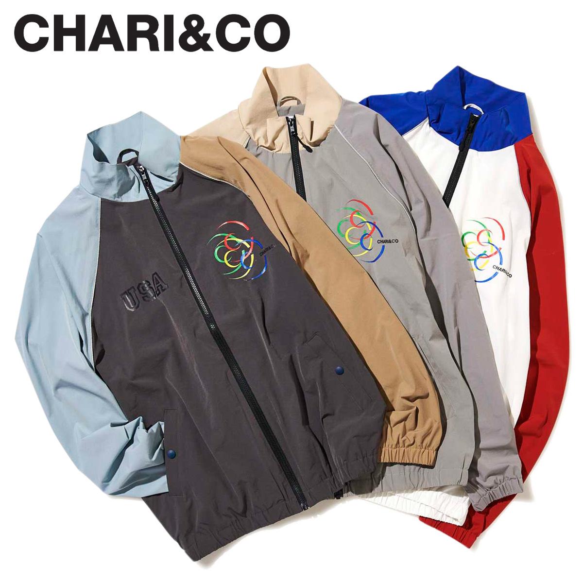 【最大2000円OFFクーポン】 CHARI&CO チャリアンドコー ジャケット トラックジャケット メンズ USA TRACK JKT ホワイト グレー チャコール 白