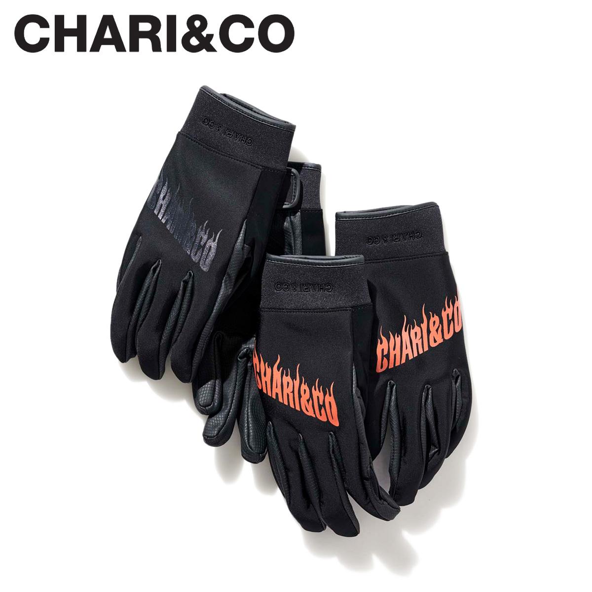 送料無料 チャリアンドコー CHARICO FLAME 驚きの値段で LOGO GLOVE 手袋 ブラック レッド クリアランスsale!期間限定! グローブ 最大600円OFFクーポン メンズ 黒