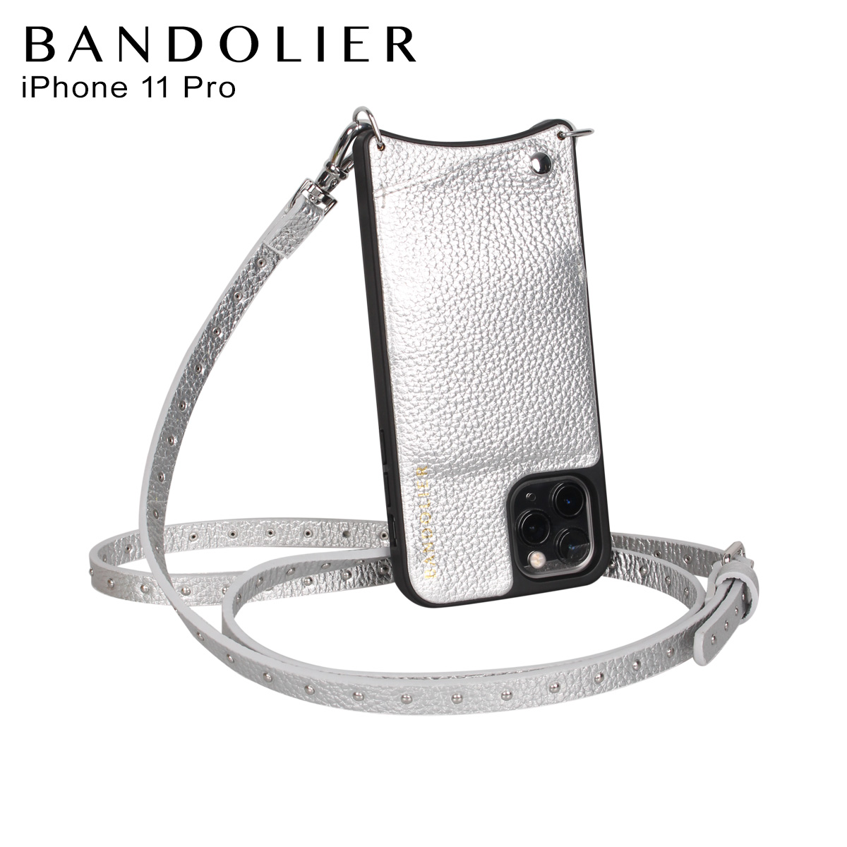 BANDOLIER バンドリヤー iPhone11 Proケース スマホ 携帯 ショルダー アイフォン メンズ レディース レザー NICOLE RICH SILVER シルバー 10NIC
