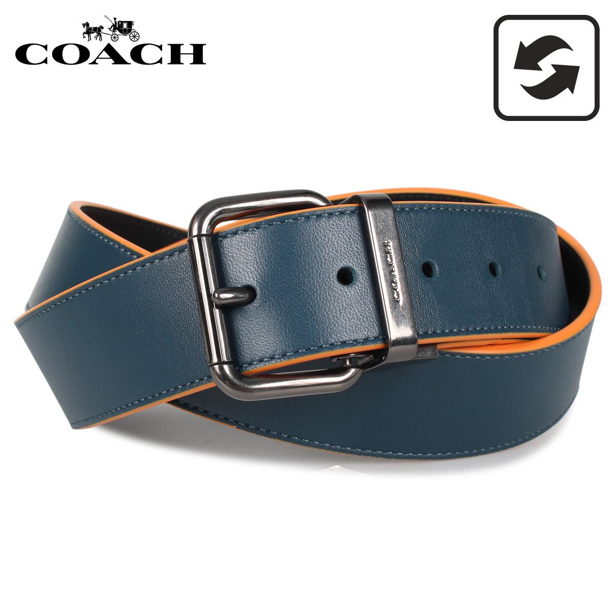 コーチ COACH ベルト レザーベルト メンズ リバーシブル ブラック ブルー 黒 91233 [3/19 新入荷]