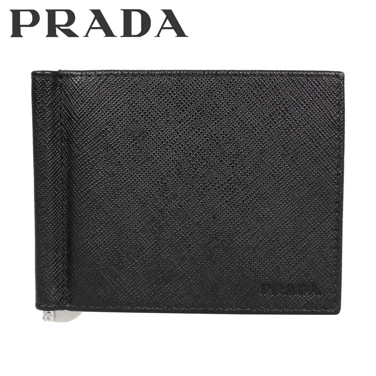 プラダ PRADA 財布 二つ折り マネークリップ サフィアーノ メンズ SAFFIANO ブラック 黒 2MN077-053 [3/9 新入荷]