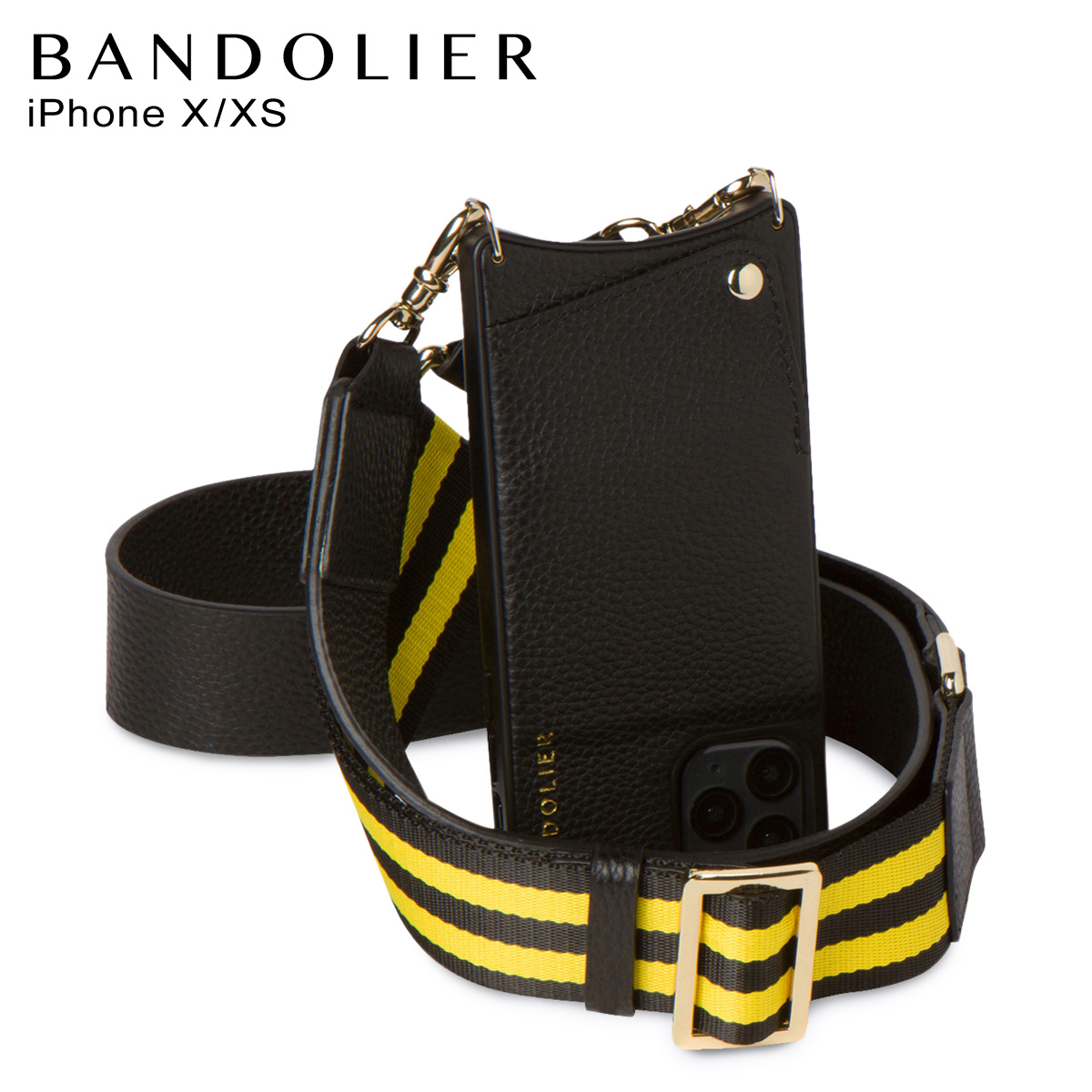 BANDOLIER バンドリヤー iPhoneXS X ケース スマホ 携帯 ショルダー スカイ サイドスロット メンズ レディース レザー SKYE SIDE SLOT YELLOW ブラック 黒 10SKY