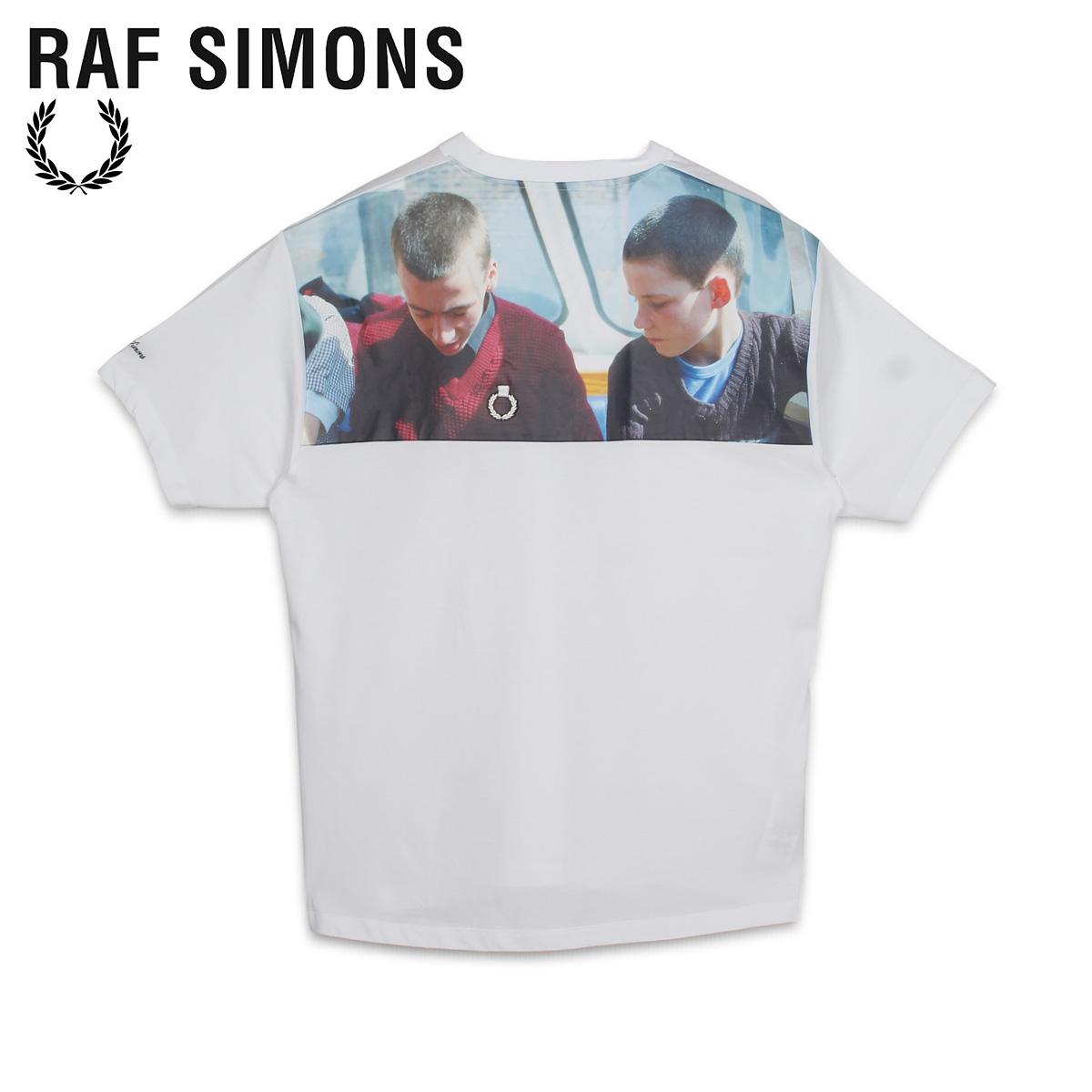 【最大2000円OFFクーポン】 フレッドペリー ラフシモンズ FRED PERRY RAF SIMONS Tシャツ 半袖 メンズ コラボ PRINT YOKE T-SHIRT ホワイト 白 SM8135 [6/2 新入荷]